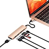 Satechi V2 スリム マルチ USBハブ Type-C 4K HDMI, カードリーダー, USBポート3.0x2(2018 MacBook Pro/Air, 2018 iPad Pro, Microsoft Surface Go など対応)(ゴールド)