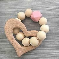 幼児期のゲーム 子供の装飾木製のおもちゃの文字列ビーズの銃器(ピンクの愛)