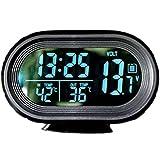 【 多 機能 時計 】 温度計 バッテリー 電圧計 アラーム スヌーズ 車 載 用 12V コンパクト スタンド 式 デジタル 表示 角度 調整 MI-CCLO (バックライト:ブルー)