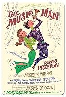 22cm x 30cmヴィンテージハワイアンティンサイン - ミュージックマン - 出演:ロバート・プレストン - マジェスティックシアター、ブロードウェイ - ビンテージな劇場のポスター によって作成された デイヴィッド・クライン c.1957