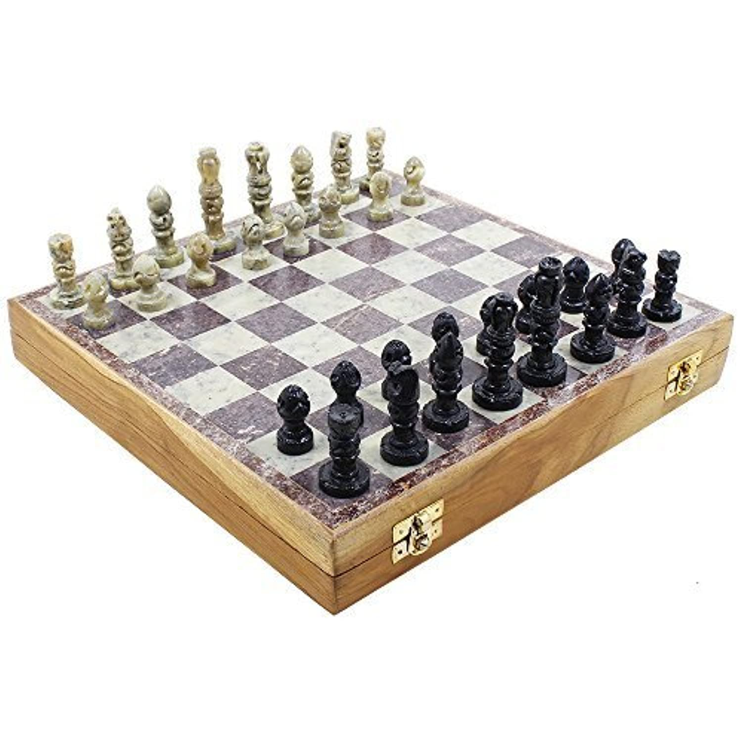 Soapstone Staunton Chess Set 10 Board with Wooden Storage for Pieces by Store Indya [並行輸入品]