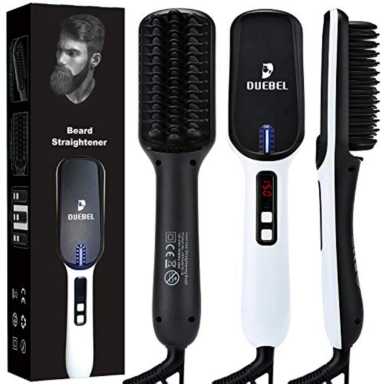 支給笑い納屋DUEBELひげ矯正加熱されたひげのくしアンチスケーリングひげのくし電気加熱されたくし毛矯正ブラシ男性用女性用