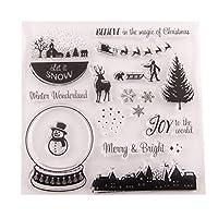 BESTOYARD クリスマスシリコンクリアスタンプクリスマスリースストッキングツリースターバードシェイプホリデースタンプクリスマスDIYスクラップブッククラフトカードフォトアルバム日記装飾