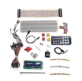 SET00032 Raspberry Pi  B+/2  用 GPIOポートキット ブレッドボード+LED+抵抗+プッシュボタン+束のジャンパーワイヤー+GPIOケーブル+リモコン+受信機モジュールワイヤー付き+DS18B20温度センサモジュール+1602ブルーLCD...