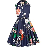 GRACE KARIN Girls Retro Sleeveless Swing Dresses with Belt CL9000-482