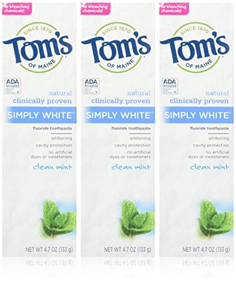 世辞細心の六分儀TOM'S OF MAINE - Simply White Toothpaste Clean Mint - 4.7 oz. (133 g) by Tom's of Maine