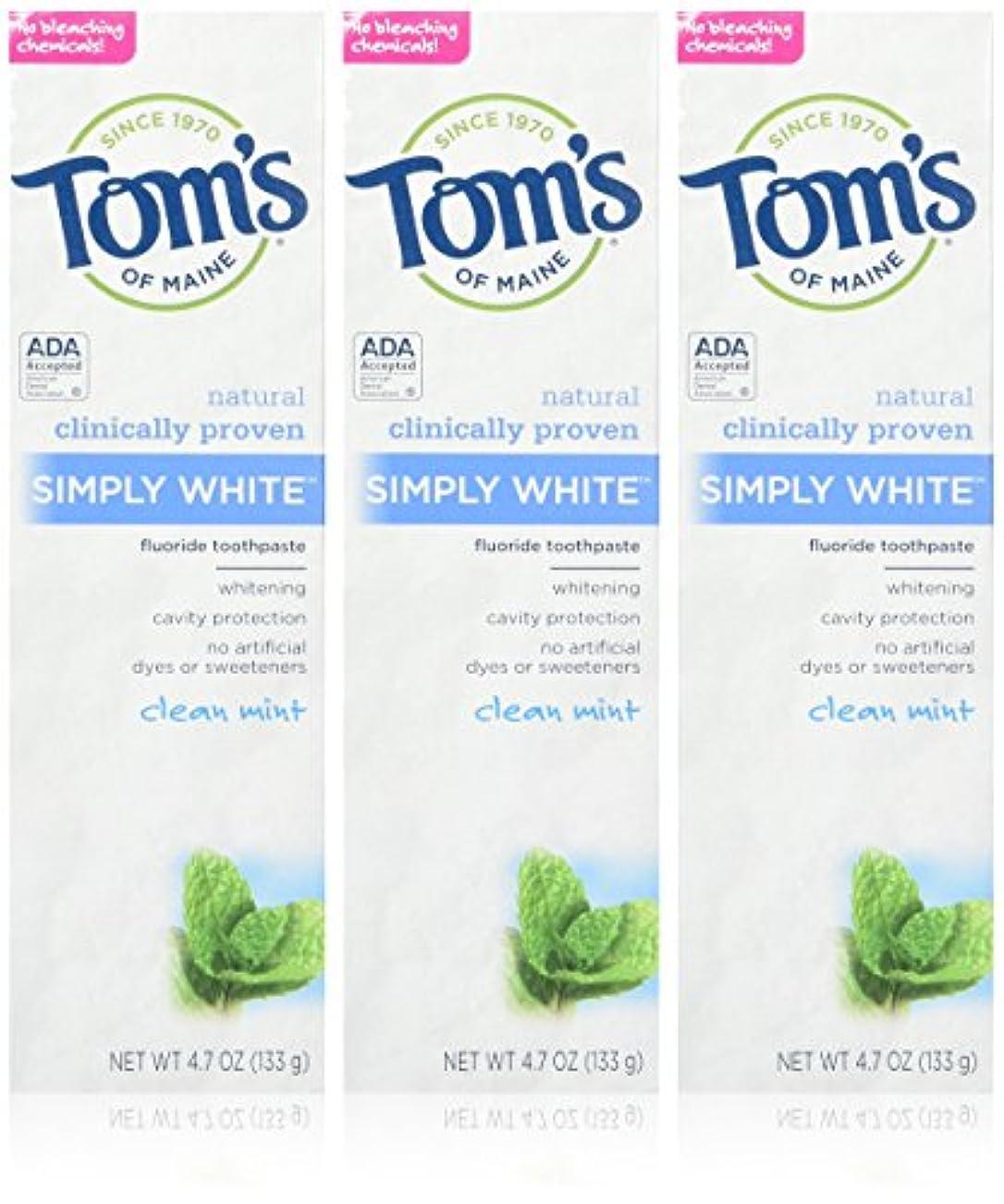 二次ピック救出TOM'S OF MAINE - Simply White Toothpaste Clean Mint - 4.7 oz. (133 g) by Tom's of Maine