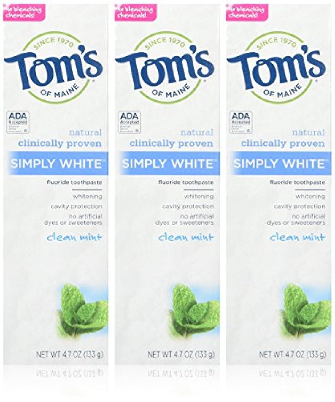 失業主張するダニTOM'S OF MAINE - Simply White Toothpaste Clean Mint - 4.7 oz. (133 g) by Tom's of Maine