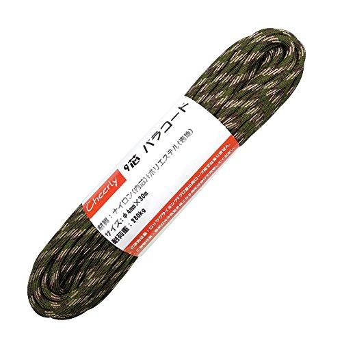 Cheerly パラコード 4mm 30m 9芯 テント ロープ パラシュートコード キャンプ サバイバル アウトドア 用