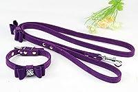 Ertans(TM) 小型犬用のOne襟+リーシュかわいいボウオーナメント子犬の首輪リーシュ設定植毛布ペット犬の首輪犬リーシュコードSM