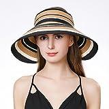 サンバイザー uvカット 帽子 レディース ストロー ハット 大きいサイズ 夏 つば広 折りたたみ 麦わら かわいい リボン 日よけ 女優帽 婦人帽子 紫外線対策 ゴルフ 自転車 57 58 59 60CM カーキ