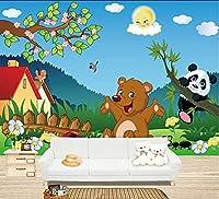 Bzbhart 3D壁画、 素敵な漫画のクマ、学校、リビングルームのテレビの壁の子供の寝室の壁紙-350cmx245cm