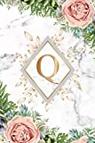 Q: Pretty Monogram Initial Q Wide Ruled Notebook for Women, Girls & School - Tropical Floral Marble & Gold Personalized Wide Lined Blank Journal & Diary.