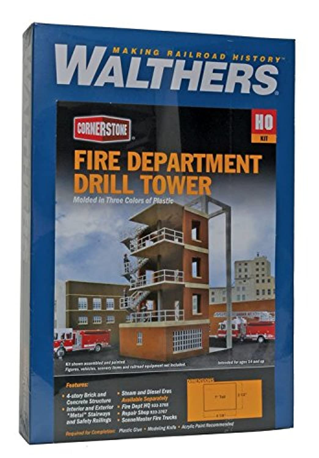 Walthers , Inc。Fire Department修理ショップキット、7 – 1 / 2 x 11 – 1 / 2 x 3 – 3 / 8