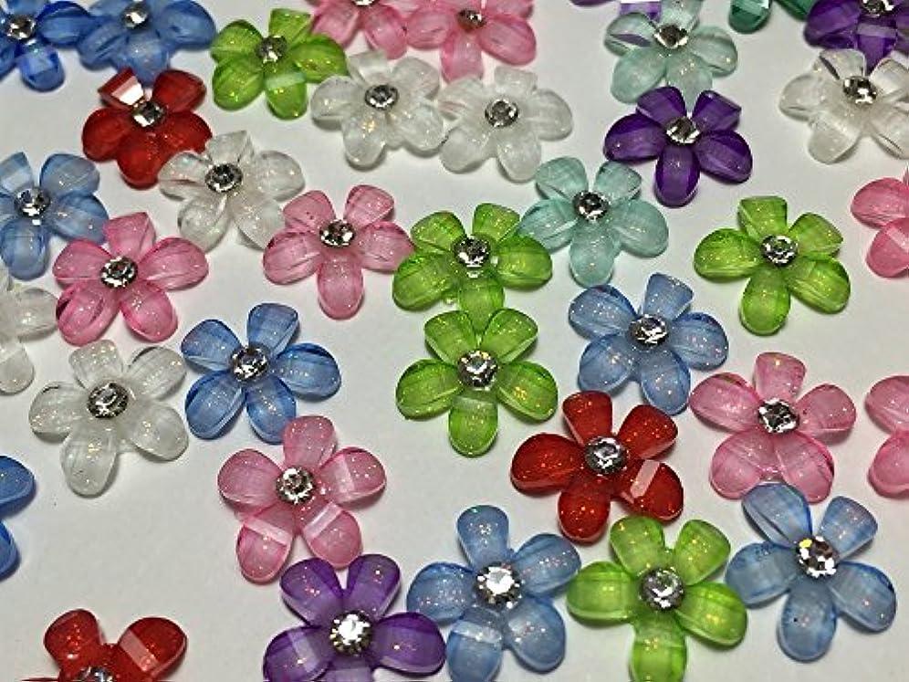★100個★ デコパーツ フラワー 10㎜ キラキラ ラインストーン ネイル 花 (MIX)