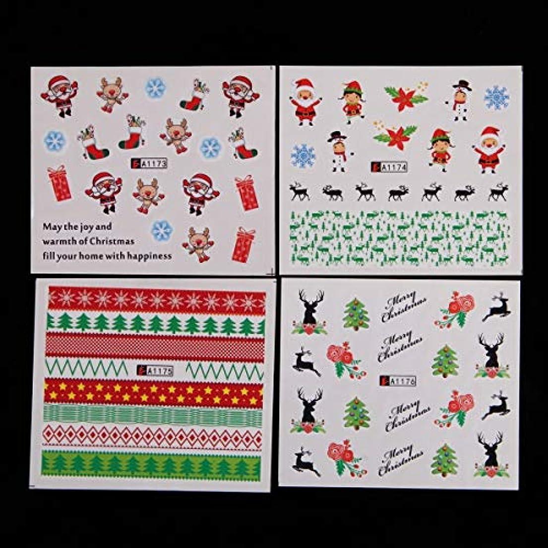 変数唯一先例OWNFSKNL 48個/セットネイルデカールステッカー自己接着DIYネイルアート水転写ヒントステンシルステッカー2ハロウィーンゴーストカボチャ城スカルとクリスマスの装飾ツールのスタイル (Color : CHRISTMAS...