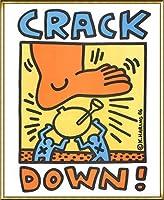 ポスター キース ヘリング Crack Down 1986 額装品 アルミ製ハイグレードフレーム(ゴールド)