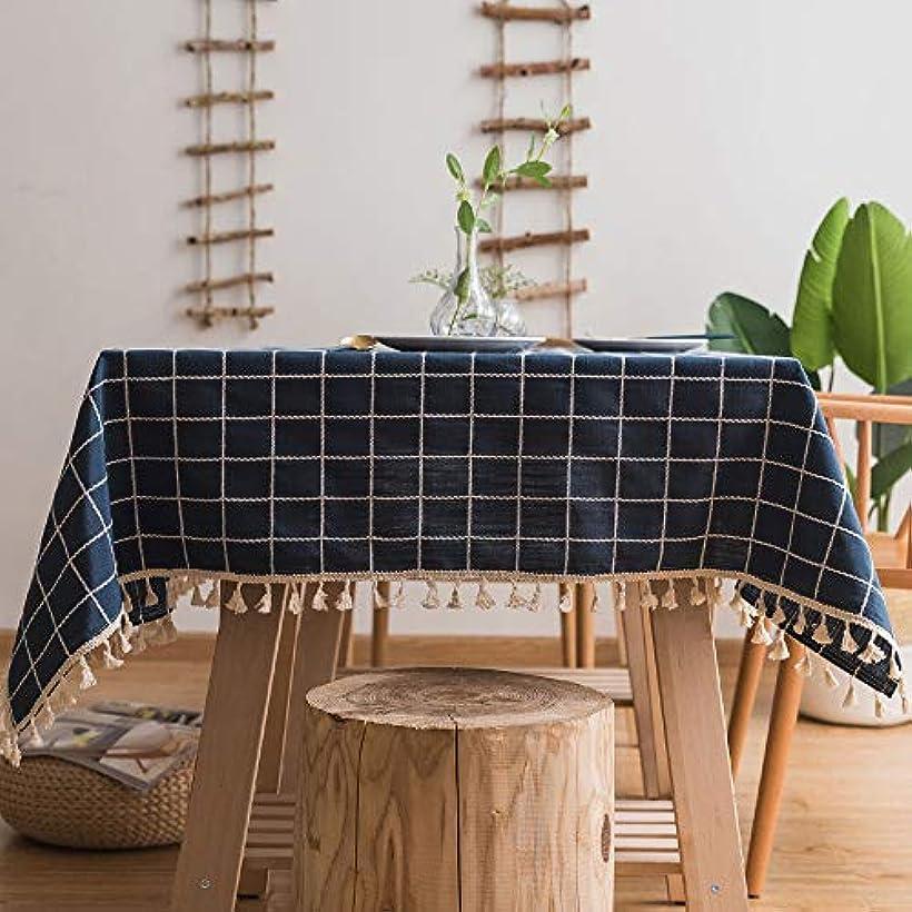 薬理学系統的そのようなテーブルクロス テーブルクロス長方形ブルー、ポリエステルテーブルクロス防水抗菌リンクル防塵ダストフリンジテーブルカバー家の装飾ダイニングキッチンガーデンパーティーお祝いディナー