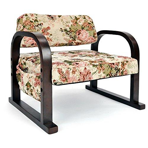 立ち上がりラクラク 優しいお座敷座椅子 「みやび」 (高さ3段階調節) ゴブラン織り 天然木製 フラワー柄