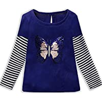 VIKITA 2017 Kid Girl Cotton Butterfly Lace Long Sleeve T Shirt Clothes 2-6 Years