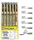 サクラ ピグマ ミクロン ドローイングペンセット アーカイブインク ブラック ファインライナー マンガペン 各種ペン先サイズ 細字 (005, 01, 03, 05, 08, ブラシチップ) Drawing set Xsdk-6