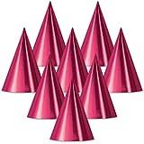 クラブパックof 48 CeriseピンクFun and Festive Party Foil Cone Hats 6.75