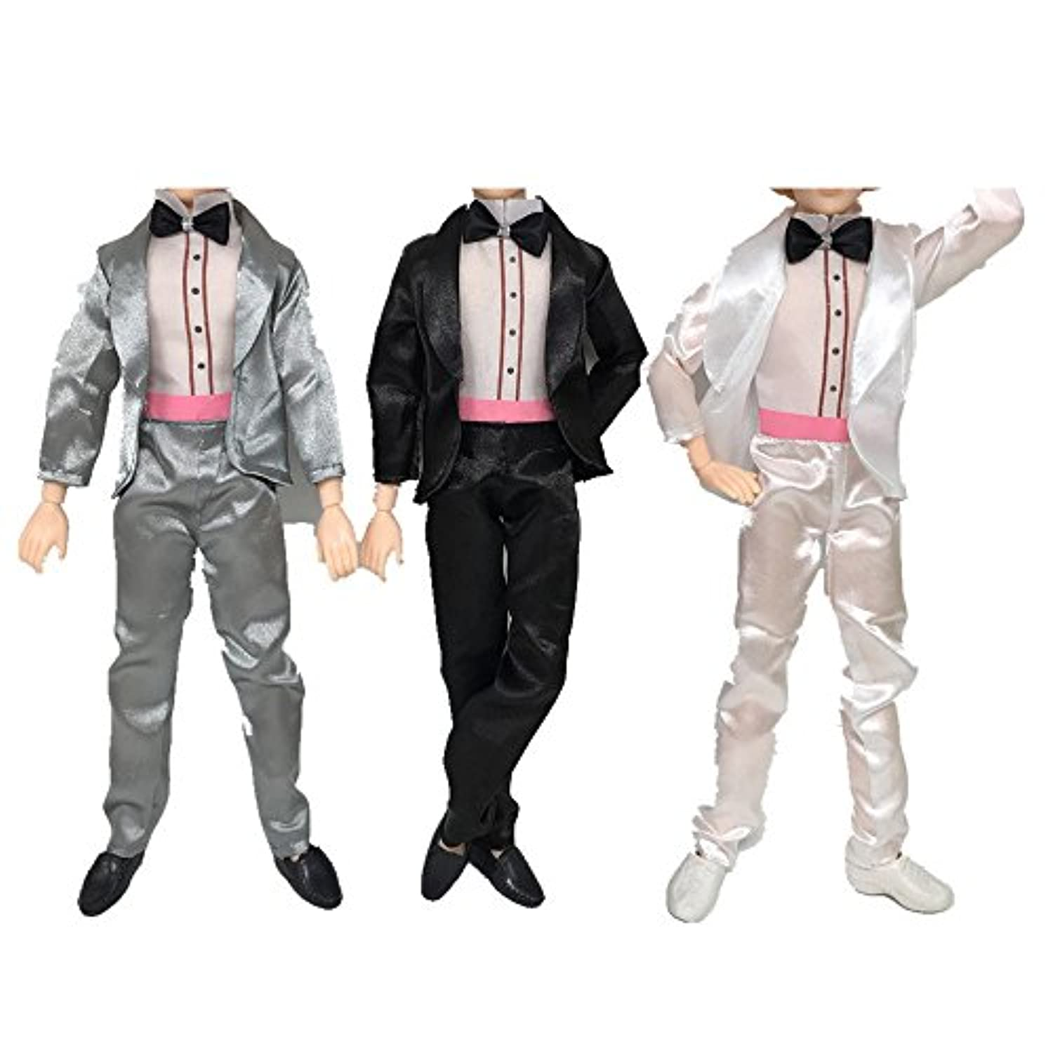 3?Sets Assorted Colors人形おもちゃウェディング服Groom Suits for Kenバービー人形キッズ誕生日クリスマスギフト