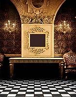 A MonamourブラックandホワイトLatticed Checked床印刷インドア部屋シーン5x 7ftビニールファブリック写真背景写真背景幕ウェディングStudio用小道具