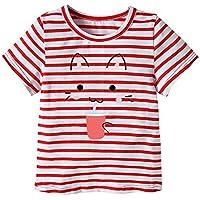 子供服 女の子 トップス Yochyan 子供 キッズ キュート 可愛い ブラウス ベビー服 半袖 Tシャツ ファッション カートゥーン 猫 プリント ラウンドネック ゆったり おしゃれ 柔らかい コットン プルオーバー カジュアルウェア