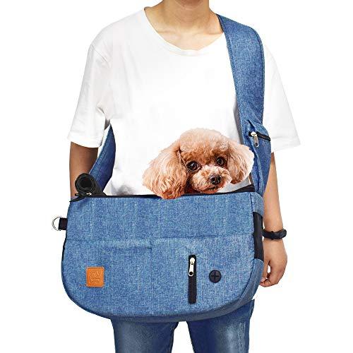 Purrpy 猫キャリー スリング 猫抱っこ紐 スリングバッグ 折りたたみ可 猫 小型犬 スリング 軽い ペットスリングバッグ 旅行 通院 散步 お出かけバック ブルー