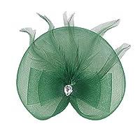 SONONIA ヴィンテージ 人工フェザー付き 魅力的な ネット ヘッドドレス 1920s ギャツビー ヘッドウェア 全10色 - ダークグリーン
