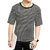 (メイク トゥ ビー) Make 2 Be メンズ ストレッチ ボーダー Tシャツ 5分袖 カットソー 半袖 KB64
