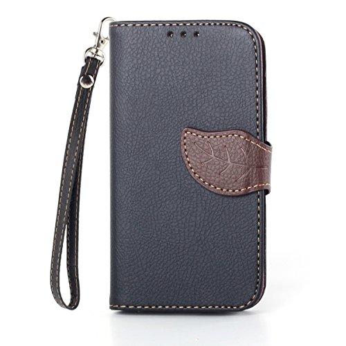 Asng Galaxy S4 手帳型 PUレザーケース [ SC-04E / Galaxy S4 SIMフリー 5 インチ 対応 ] 画面保護 / スタンド / ICカード収納 / ストラップホール Leaf Design TPU Case + ストラップセット (黒&茶)