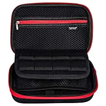 Soyan Carrying Case for Nintendo New 3DS XL and 2DS XL, with 16 Game Card Holders, Fits Wall Charger (Red)