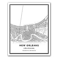 新しいOrleansマップポスター印刷|モダンブラックandホワイト壁アート| Scandinavianホームインテリア| Louisiana City Printsアートワーク| Fineアートポスター 16x20
