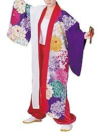 【よさこい衣装?袢纏?法被】おどり袢天 白/紫 花柄 B469
