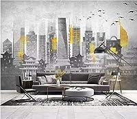 Minyose カスタム3 D壁紙中国の抽象的な建築ゴールデンテレビソファの背景の壁の壁紙壁画-200Cmx140Cm