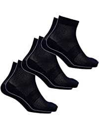 【WM713】メッシュでも丈夫、通気性バツグン! 蒸れない綿メッシュミドル丈先丸靴下 黒3足組 25~27
