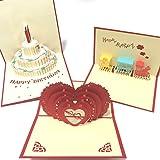 3D 立体 ポップアップ メッセージ カード グリーティングカード 誕生日カード 結婚式 お祝いカード 3枚セット (ケーキ・電車・ハート 3枚セット)