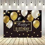 Happy Birthday背景幕 ブラックゴールドバルーン ゴールドバースデーパーティー写真背景 ゴールドグリッター星 50歳 60歳 誕生日デコレーション バナー
