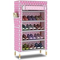 YANFEI 多層靴ラック靴キャビネットソリッドウッドストレージ防塵靴ラックアセンブリ6層5グリッド (色 : Pink)