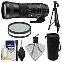 Sigma 150–600mm F / 5.0–6.3DG OS HSM Contemporaryズームレンズfor Canon EOS DSLR Cameras with Pistol Grip Tripod + UV & CPLフィルタ+ポーチ+キット