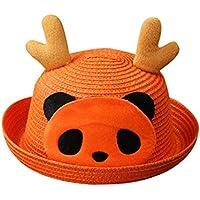 Lieteuy 子供 幼児 赤ちゃんの帽子 麦わら帽子 パンダのプリント かわいい ルーツプリント パターン バケット帽子 ヘルメット バケットキャップ Sunhat