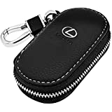 VILLSION Universal Car Key Holder Genuine Leather Case for Mercedes Benz with Stainless Steel Hook Remote Key Fob Case with Metal Zipper Keychain Suit for Men Women, Black for Lexus