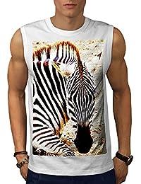Wellcoda シマウマ サファリ 可愛い 動物 男性用 S-5XL 袖なしTシャツ