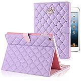 【hayarifashion】iPad Air2 ケース、iPad mini3 スマート カバー 自動スリープ 傷つけ防止「スタンド機能」二つ折ケース  iPad2/3/4/5/6/Air1/Air2/mini1/2/3対応 (iPad6/Air2, パープル)