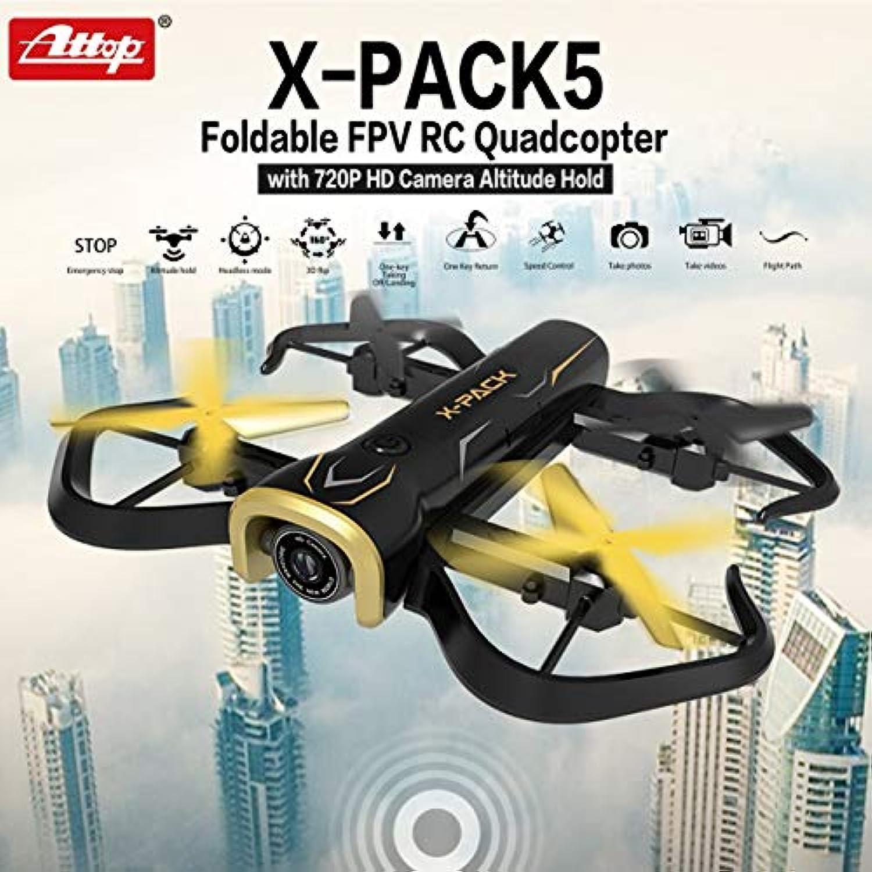 Attop X-PACK5 720P HDカメラFoldable FPV RCクアドコプタードローン高度保留ブラック