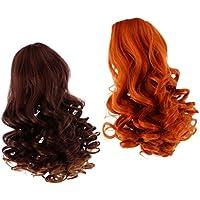ノーブランド品 2個入り お買い得  ウィッグ  巻き 髪  カーリーヘア  ロング髪  かつら  18インチ アメリカガール人形適用  6色選べる  - カラー5
