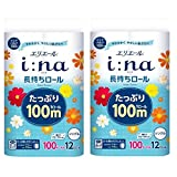 【まとめ買い】エリエール イーナ トイレットティシュー シングル(100m) 12ロール 華やぐフローラルの香り パルプ100% ×2個