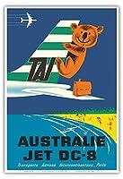 オーストラリア - TAI(国際航空運送) - ダグラスDC-6輸送航空機 - コアラ - ビンテージな航空会社のポスター によって作成された セガンc.1960s - アートポスター - 33cm x 48cm